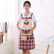 Fashion Style Linen Aprons Colorful Plaid Embroidery Pattern Apron With Pocket H Shape Shoulder Strap Aprons For Woman 2017 New