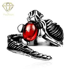 Split Rings New Design Punk Style Red Rhinestone Eye Dragon 316L Stainless Steel Ring for Male Biker Party Jewelry Wholesale