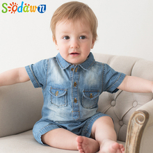 Sodawn Summer New Arrival Denium Baby Boys Clothing Fashion Design Lovely Romper Comfortable Bebe Girls Clothes(China)