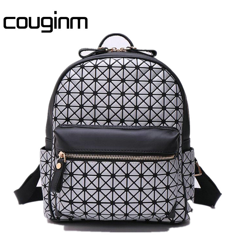 COUGINM New Women Laser Backpack Geometric Students School Shoulder Bag Hologram Luminous Backpack Laser Silver Bao Bao Bags<br>