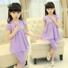 Grils Clothes 2017 Fashion Summer Girl Clothing Sets Short Sleeve Lace T Shirt + Pants for Kids Suit 4 Colors