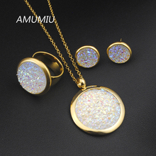 AMUMIU 2017 NEW White Broken Stone Wedding Jewelry Sets Pendant Earrings Ring For Women Unique Engagement Jewelry Set HZTZ018