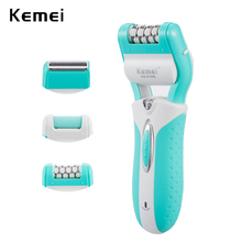 kemei 3 in 1 rechargeable lady epilator callus dead skin remover hair shaver foot care tool electric hair removal depilador(China)