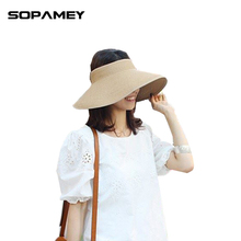 2017 New Spring Summer Visors Cap Beach Hats for Women Straw Hat  Foldable Wide Large Brim Sun Vacation Tour Chapeau