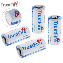 4pcs TrustFire 3V 16340 CR123A Li-ion Battery 1400mAh Real Capacity Lithium Battery for LED Flashlight Headlamp Camera