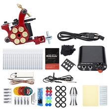 Top-Sales Solong Tattoo Kit Carbon Steel 10 Wrap Coils Shader Machine Gun Power Supply 20 Needles 8 Colors for Artists Beginner