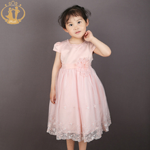Nimble   Embroidery Flower Beading Baby Girls Dress Mid-Calf O-neck Princess Dress Ivory Pink&Orange Two colors Available