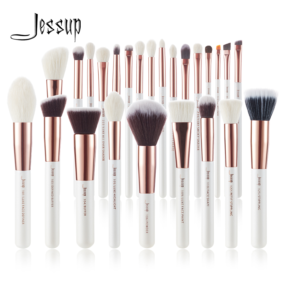 Jessup brushes Pearl White/Rose Gold Makeup brushes set Professional Beauty Make up brush Natural hair Foundation Powder Blushes(China)