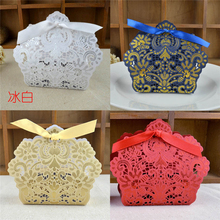 50pcs/set  Wedding Laser Hollowe Candy Box Gold/Red/White/Blue Laser Cut Wedding Favor Boxes Casamento Wedding Favors Gifts,W