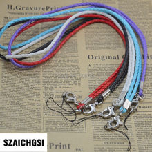 SZAICHGSI wholesale 100pcs pu leather wrist hand cell phone mobile chain straps keychain Charm Cords Hang Rope Lariat Lanyard(China)