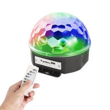 Adjustable MP3 LED Magic Crystal Ball Light Dynamic Liquid Sky Animated Moving Star Stage Lights for Pub KTV Club Party(China)