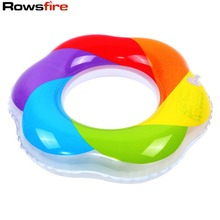 Rowsfire Giant Pool Float Unisex Adults Chldrens' 3D Swimming Ring Rainbow Thick Padded PVC Inflatable Swim Ring Practice