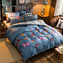 Beautiful Butterfly 4Pcs Twin/Full/Queen/King Size Bedding Linen Quilt/Duvet/Doona Cover Set & Sheet Shams Fashion Grayish Blue