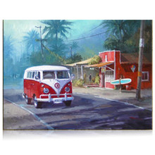 Handmade Street Scene Picture Oil Painting Retro Vintage Acrylic Paintings Hawaii Scenery Wall Art Bus Road Home Decor Wallpaper