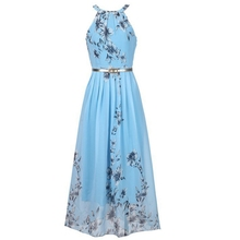 Buy Floral print halter chiffon long dress Women ties back 2018 boho maxi dresses vestidos Sexy beach summer dress new