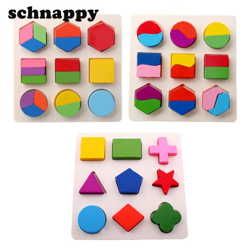 Baby Kids Wooden Learning Geometry Educational Toys Puzzle Children Early Learning 3D Shapes Wood Jigsaw Puzzles(China (Mainland))