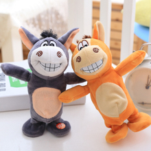 Electronic Talking Donkey Cows Plush Toy Cute Speak Music and Walk Dolls Pets Plush Toys for Children Baby Speakking Animal Toy