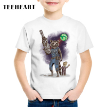 TEEHEART Guardians of the Galaxy 2 Boys/girls' T-shirt Anime Warrior Protection Baby Groot Summer T Shirt Children Clothes TA640