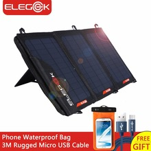 ELEGEEK 5V/18V 21W Solar Panel Charger USB DC Dual Output Portable Solar Charger with Storage Bag for iPhone 12V Battery