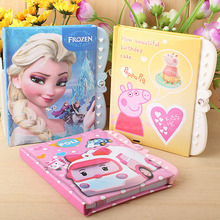 New children's creative Hard Copybook password notebook student diary can lock princess Barbie little yellow man cartoon notes(China)