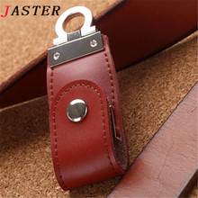 JASTER leather usb flash drive fur key chain pendrives 8gb 32gb commercial memory stick 4gb 16gb gift usb creativo