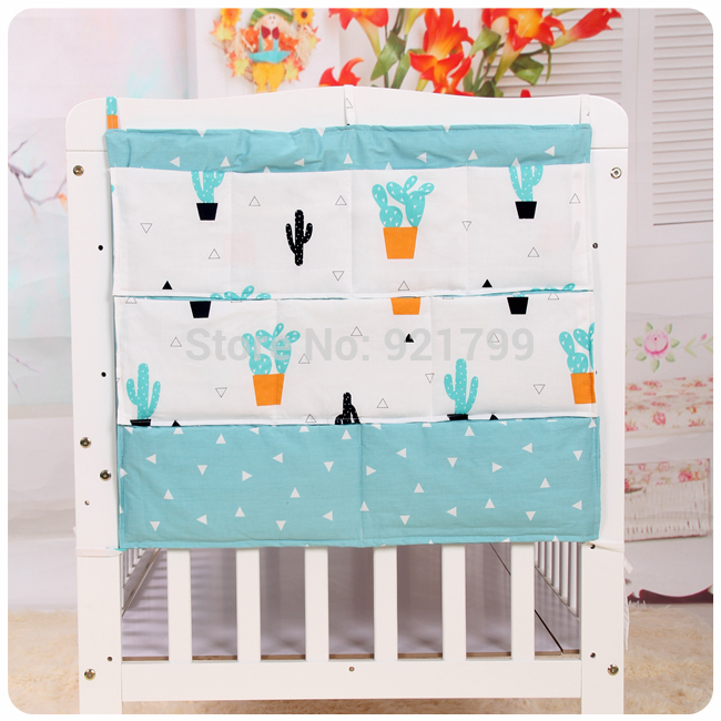 2018 New Crib Baby Bed bumper Hanging Storage Bag Muslin Baby Cot pocket Hanging Storage Bag Baby Bedding Bumper sets 50*60cm