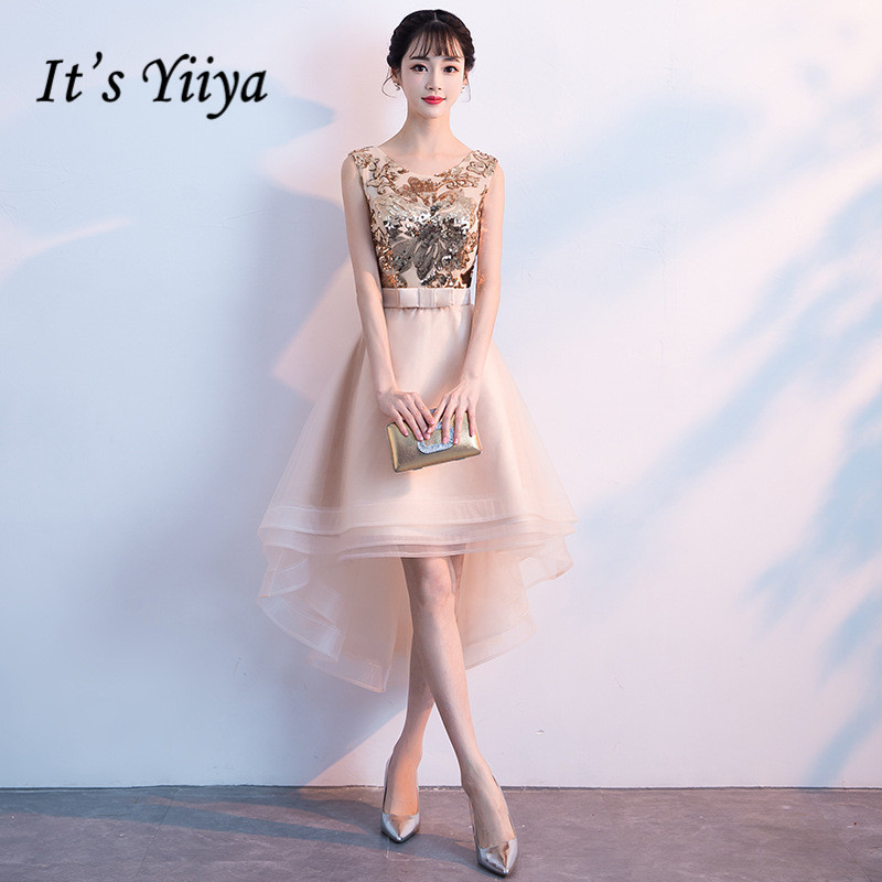 It's YiiYa Prom Dress Bling Gold Sequins Sleeveless High Low length Party Dresses Khaki O-neck Zipper Formal Gowns E053