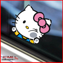 New Car Sticker Hello Kitty Car Stickers Big Size 19X17CM Funny KT Cat Hit The Car Glass Cute Stickers on Car Window Accessories