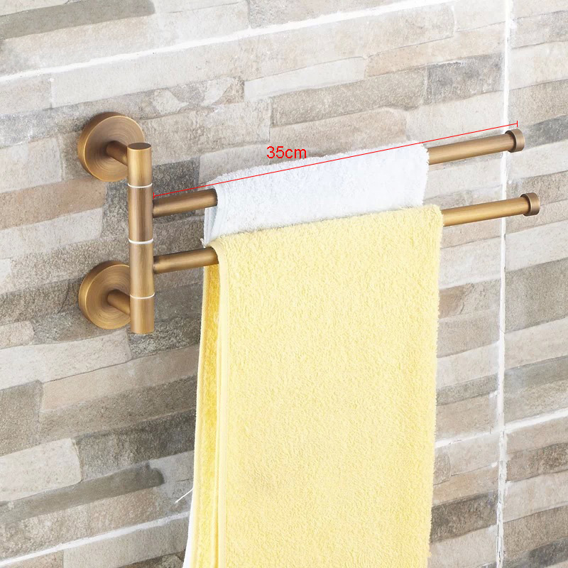European style bathroom towel hanger Bronze movable towel rod Folding rotary towel rack Antique activities towel 2 bar BR-88012<br>
