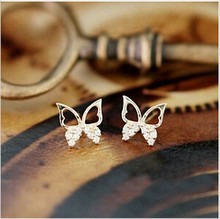 Korean jewelry simple and elegant fashion butterfly earrings female Fangzuan Free shipping  ED169