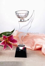 wing shape beautiful crystal new design with black base customize crystal trophy(China)