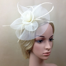 Elegant Lady Women Fascinator Hat Clips Hairpins Hair Accessories Church Wedding Party Hair Decoration Veiling Hair Headband