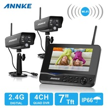 "ANNKE 4CH WIFI DVR Security CCTV IP Camera System Digital Wireless Surveillance Kit Baby Monitor 7"" TFT LCD +2 Cameras(China)"