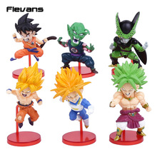 Dragon Ball Z 6pcs/set Super Saiyan Son Goku Vegeta Broly Piccolo Cell Child Goku PVC Figures Collectible Model Toys 7~10cm