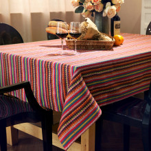 Europe Striped Tablecloth for a Table Cotton Canvas Kitchen Table Cover Elegant Rectangular Table Cloths for Restaurant Party