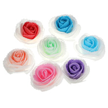 lowest price  50 pcs a set Artificial 7cm Rose PE Foam Silk Flower Heads for Wedding Bridal Garland