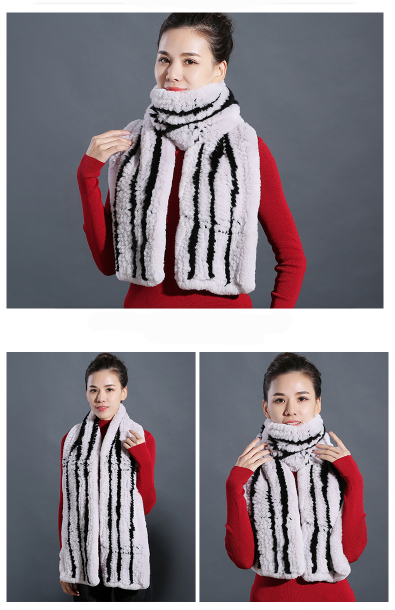 100% Real Rex Rabbit Fur Scarves Wraps For Women Winter Handmade 2018 New Fashion Long Natural Fur Scarf   (7)