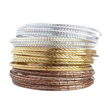 New Temperament OL Fashion Gold & Rose Gold & Silver Plated Three Colors Indian Bangles set Fashionable Simple 36Pcs/set(China)