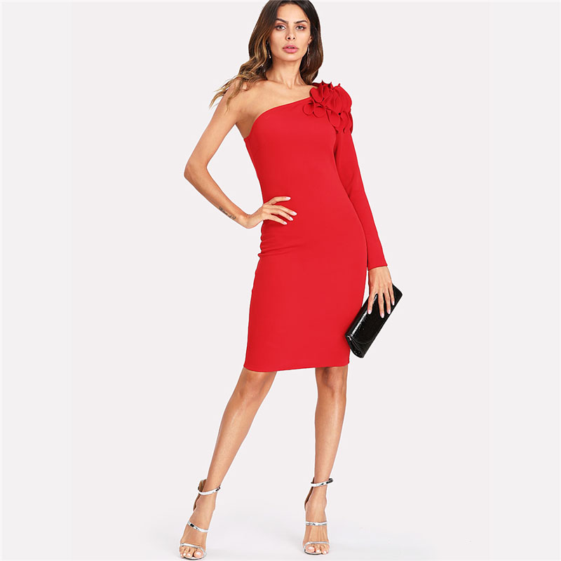 COLROVIE Asymmetrical Tiered Ruffle Shoulder Fitted Dress Red One Shoulder Long Sleeve Dress 2018 Short Ruffle Female Dress 5