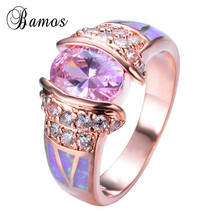 Rose Gold Filled Unique Design Pink Fire Opal Ring Crystal Fashion Jewelry Women's Rings For Party Wedding Gifts RP0021
