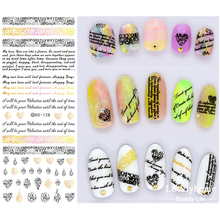 DS128 New Water Transfer Nails Art Sticker English Letter Little Element Nail Wrap Sticker Tips Manicura nail foil transfer(China)