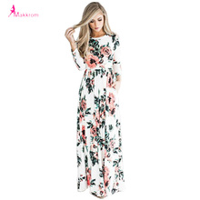 Makkrom 2017 Women Dress Spring Autumn Long Dress Flower Printed O-Neck Party Casual Empire Floor-Length Dress Woman Brand