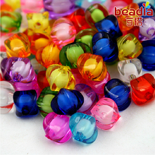 Hot Sale 50pcs/lot 9*10mm Cube Faceted 10 Colors Acrylic Loose Spacer Beads for Jewelry & DIY Craft