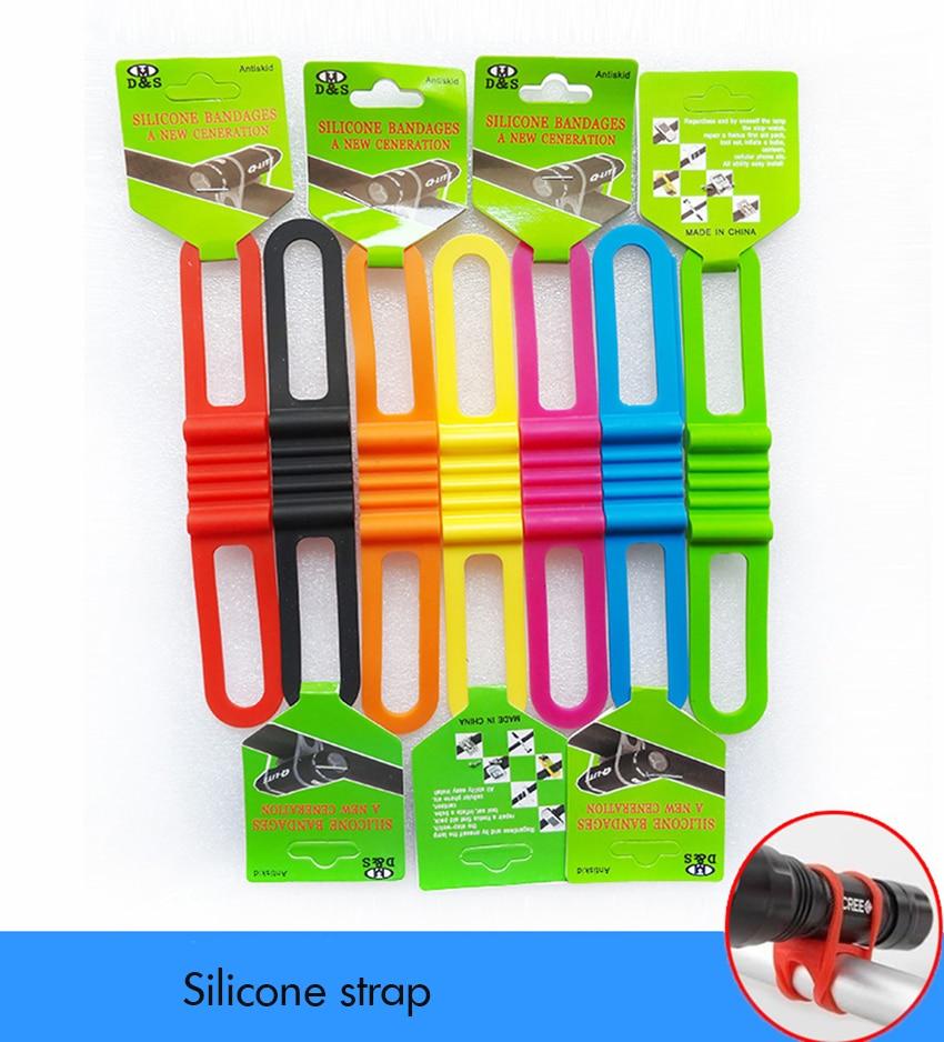 Cycling Bike Bicycle Silicone Band Elastic Strap Bandage Flashlight Mount Holder
