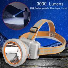 New Arrival LED Projector Headlamp 3000 Lumens USB Rechargeable Headlamp Head Light 2 Modes For 2x18650 Battery