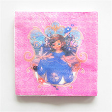 20pcs/lot Sofia princess theme party napkins paper happy birthday party supplies paper tissue towels favors
