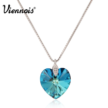 Viennois New Blue Heart of Ocean Necklaces Pendants With Crystals from Swarovski Silver Color Chain Necklace for Women