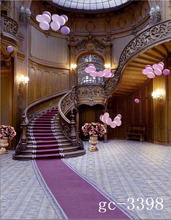 8x15FT Round Casino Wooden Club Suite Stairs Balloons Purple Carpet Custom Photo Studio Backdrops Backgrounds Vinyl 8x12 10x20(China)