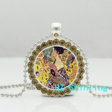 New Art Nouveau Lady Crystal Neckalce Gustav Klimt Pendants Glass Painting Jewelry Silver Ball Chain Pendant Necklaces