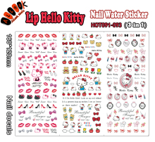 For Nail(Large Piece HOT091-093 3 DESIGNS IN 1Lip Hello Kitty Nail Art Wrap Water Sticker for Nail Art Decoration